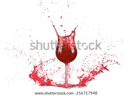 Glass with red wine, red wine splash, wine pouring on table isolated on white background, big splash around  - stock photo