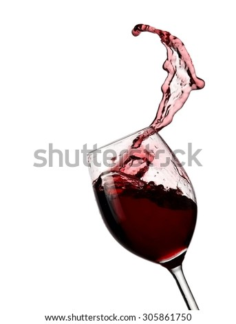 Glass with red wine up