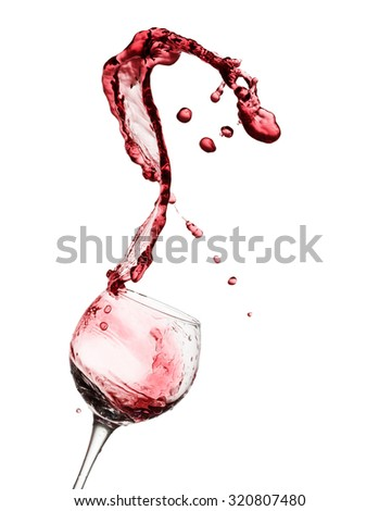 Glass with red wine up isolated on the white background