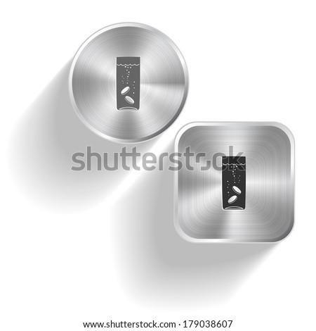 Glass with tablets. Raster set steel buttons
