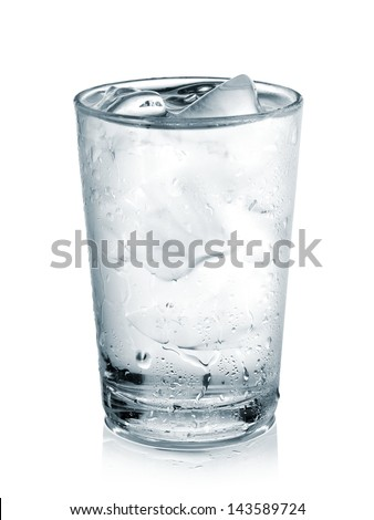 Glass with water and ice - stock photo