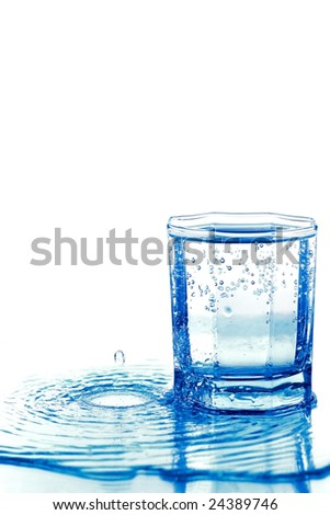 Glass with water and water waves