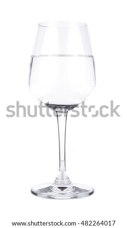 Glass with water on white.