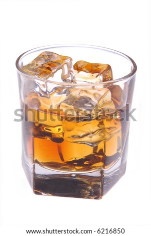 Glass with Whiskey and Ice isolated over white