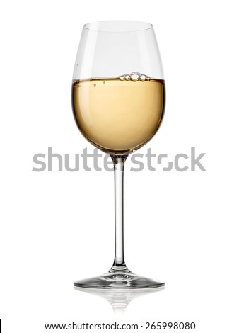Glass with white wine - stock photo