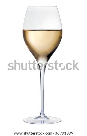 Glass with white wine, isolated on white. HQ studio shot. - stock photo