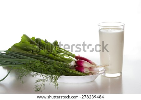 Glass with yogurt, radishes and herbs on a white background.