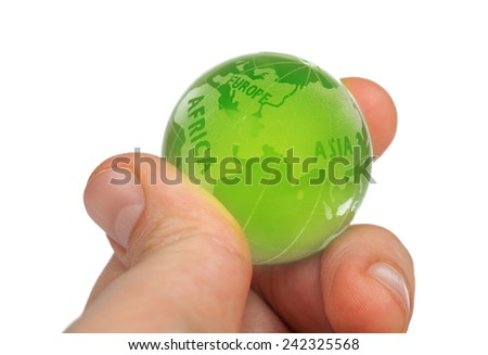 glass world in hand. Environmental conservation concept. - stock photo
