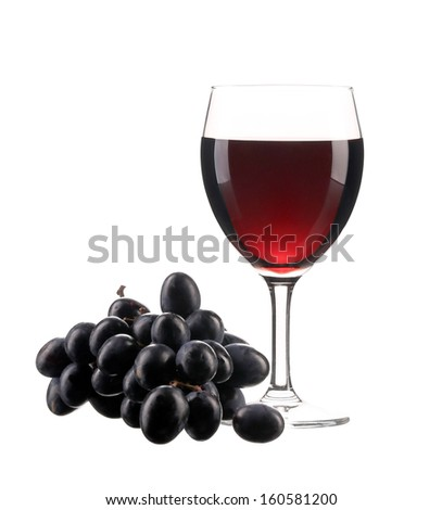 Glasse of wine and ripe grape. Isolated on white background
