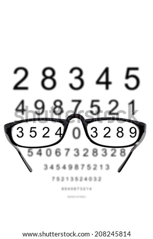 Glasses against cloudy background of numbers - stock photo