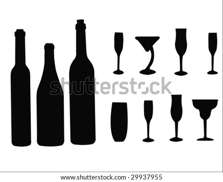 glasses and bottles silhouettes - stock photo