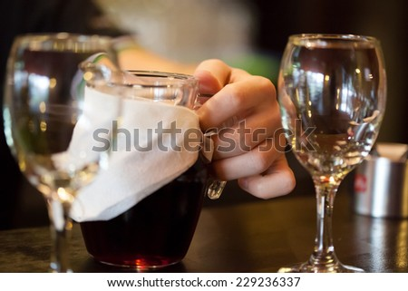Glasses and carafe with wine