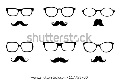 glasses  and mustache  set - stock photo
