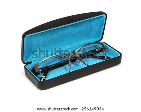 Glasses' case on white