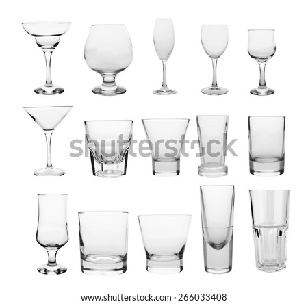 glasses collection isolated on a white background - stock photo