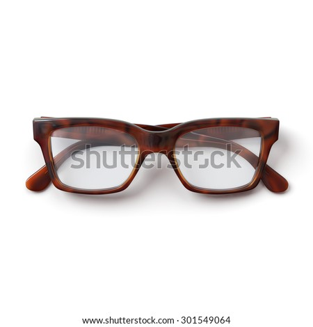 Glasses.Folded.Horn rimmed.Realistic 3D rendering.Isolated on white background.Top view. - stock photo