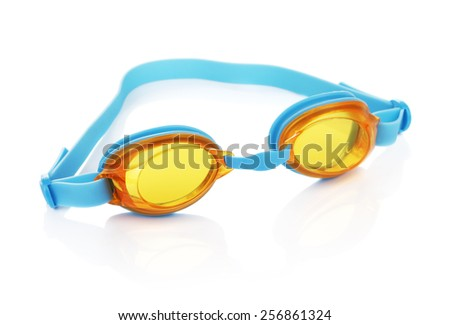 glasses for swimming, isolated on white background - stock photo