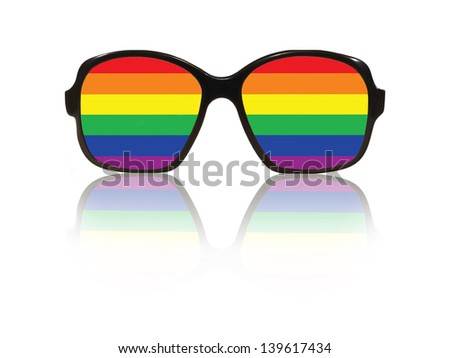 Glasses frame and gay pride flag inside with reflection on white background. - stock photo