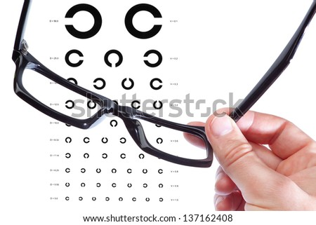 Glasses in the hand of a man on the background of the table Golovin. Close-up. - stock photo
