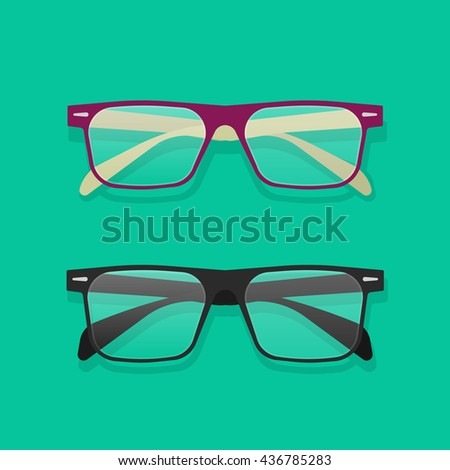Glasses isolated illustration, flat violet and black eyeglasses on table image