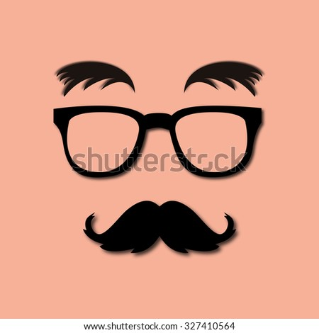 glasses, mustache and eyebrows lush - stock photo