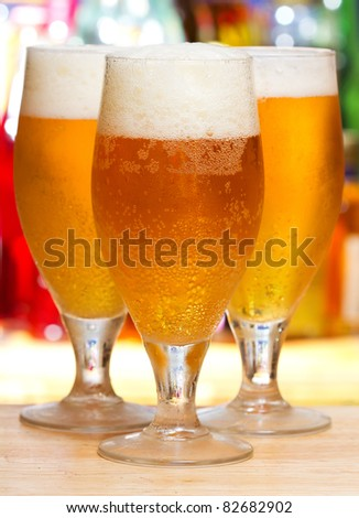 glasses of beer - stock photo