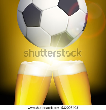 Glasses of beer and a soccer ball. Celebrating victory. Stock illustration.
