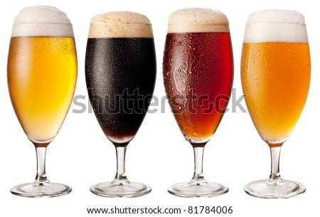 Glasses of beer isolated on a white background. File contains clipping path. Four varieties of beer.