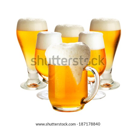 Glasses of beer isolated over white- excellent quality