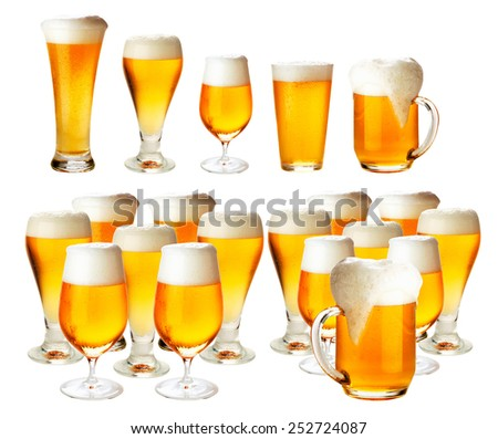 Glasses of beer with froth- excellent quality