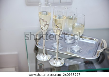 glasses of champagne at a wedding ceremony