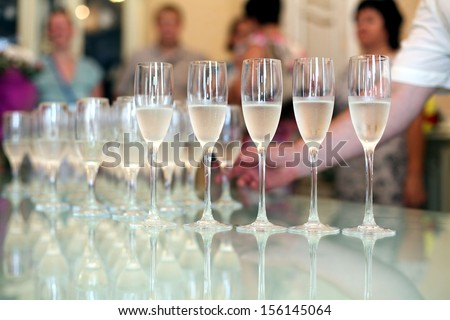 glasses of champagne cocktail reception