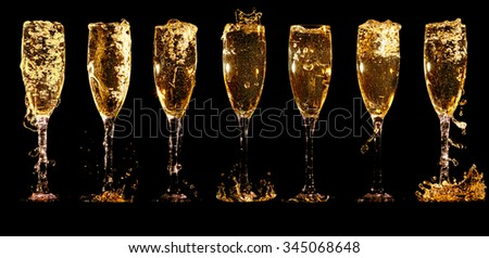 Glasses of champagne collage with splashes and bubbles on black background - stock photo