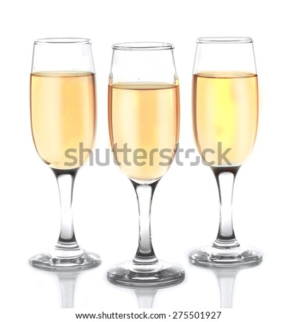 Glasses of champagne isolate on white