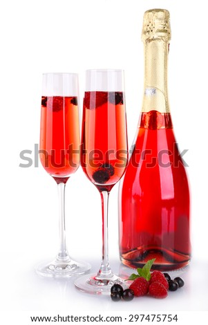 Glasses of champagne isolated on white - stock photo