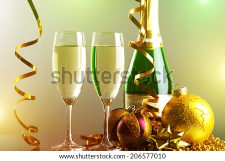 Glasses of champagne. light background - stock photo