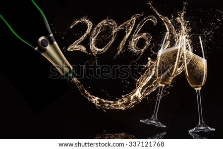 Glasses of champagne with splash, celebration theme. - stock photo