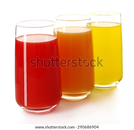 Glasses of different juice isolated on white