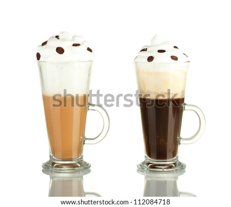glasses of fresh coffee cocktail isolated on white