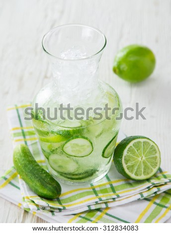 Glasses of fresh,home-made  fresh cucumber juice