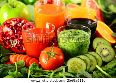 Glasses of fresh organic vegetable and fruit juices Detox diet. - stock photo