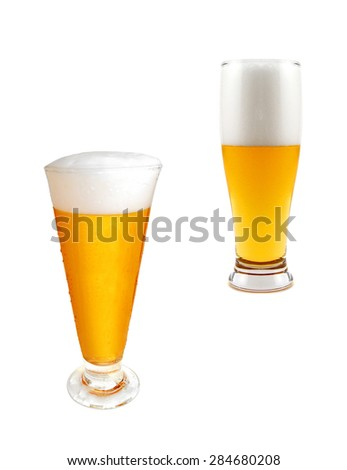 glasses of light beer isolated