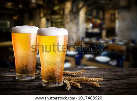 Glasses of light beer with barley on a pub background. Two glass of beer with wheat on wooden table