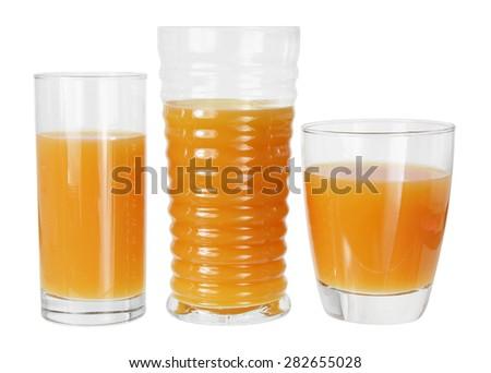 Glasses of Orange Juice on White Background - stock photo