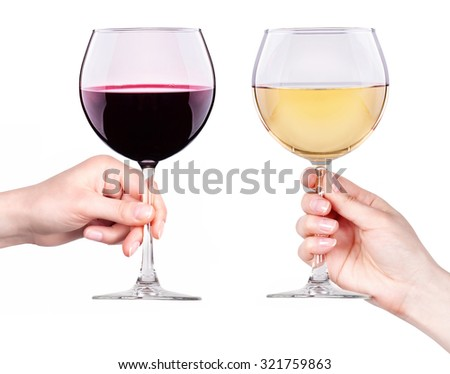 Glasses of red and white wine with splashes in hand isolated on a white background