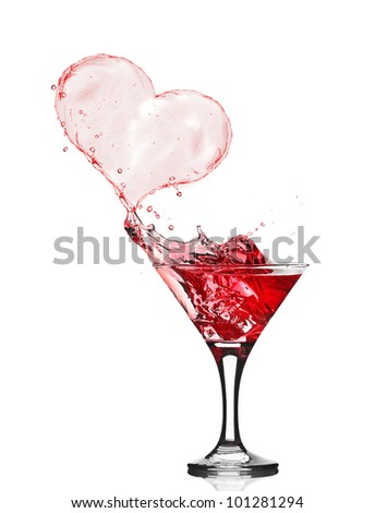 Glasses of Red Wine Abstract Heart Splash - stock photo