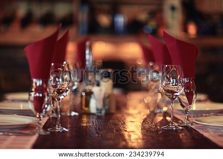 glasses of red wine at restaurant concept alcohol