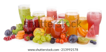 Glasses of tasty fresh juice, isolated on white - stock photo