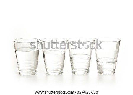 glasses of water on a white background