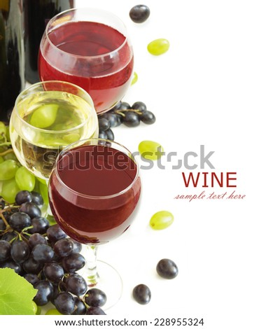 Glasses of wine,bottle and grapes isolated on white background  - stock photo